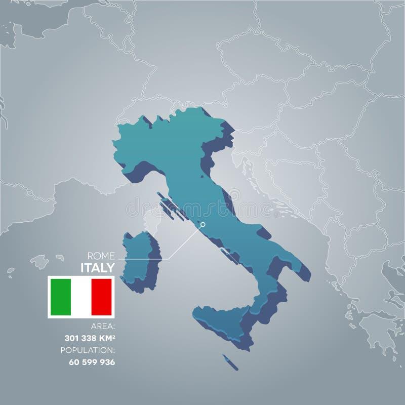 Mapa de la información de Italia stock de ilustración