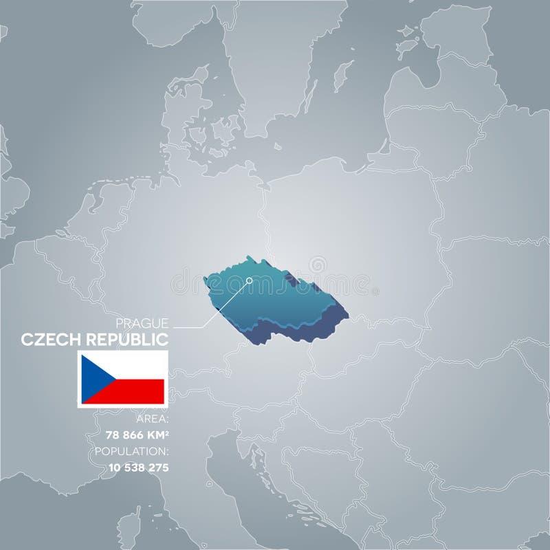 Mapa de la información de la República Checa ilustración del vector