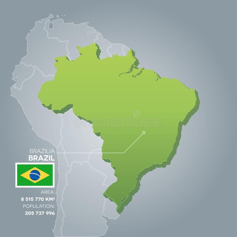 Mapa de la información del Brasil ilustración del vector