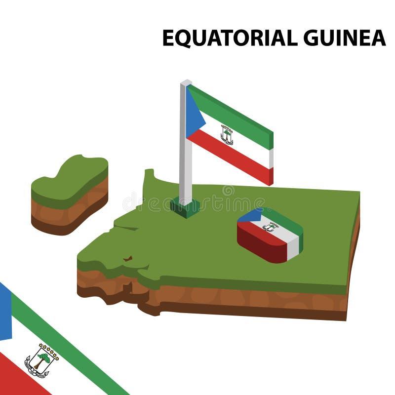 Mapa de la información y bandera isométricos gráficos de la GUINEA ECUATORIAL ejemplo isom?trico del vector 3d stock de ilustración