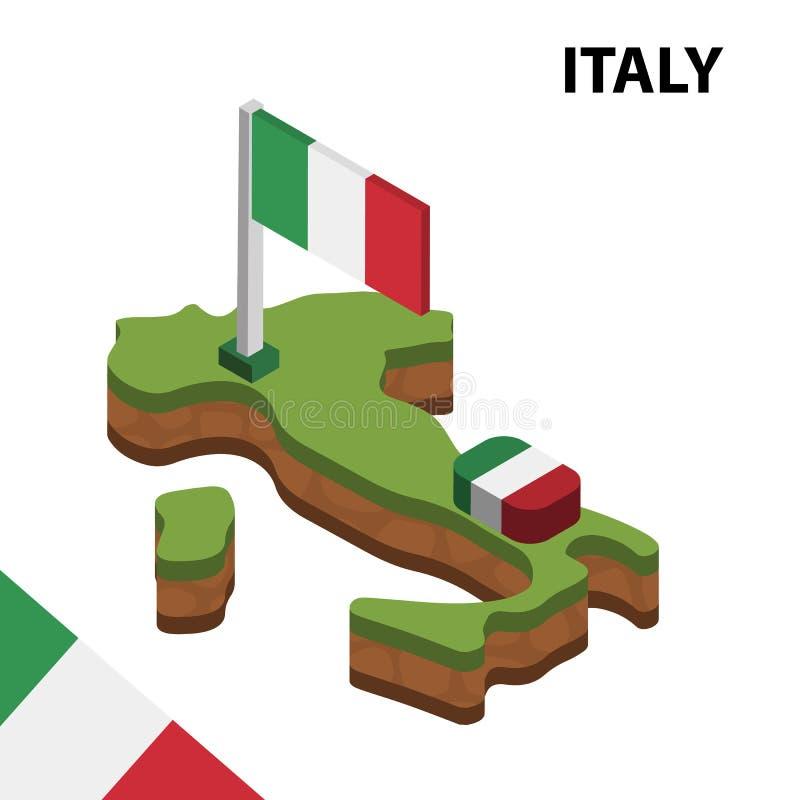 Mapa de la informaci?n y bandera isom?tricos gr?ficos de ITALIA ejemplo isom?trico del vector 3d ilustración del vector