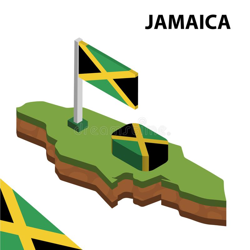 Mapa de la informaci?n y bandera isom?tricos gr?ficos de JAMAICA ejemplo isom?trico del vector 3d libre illustration
