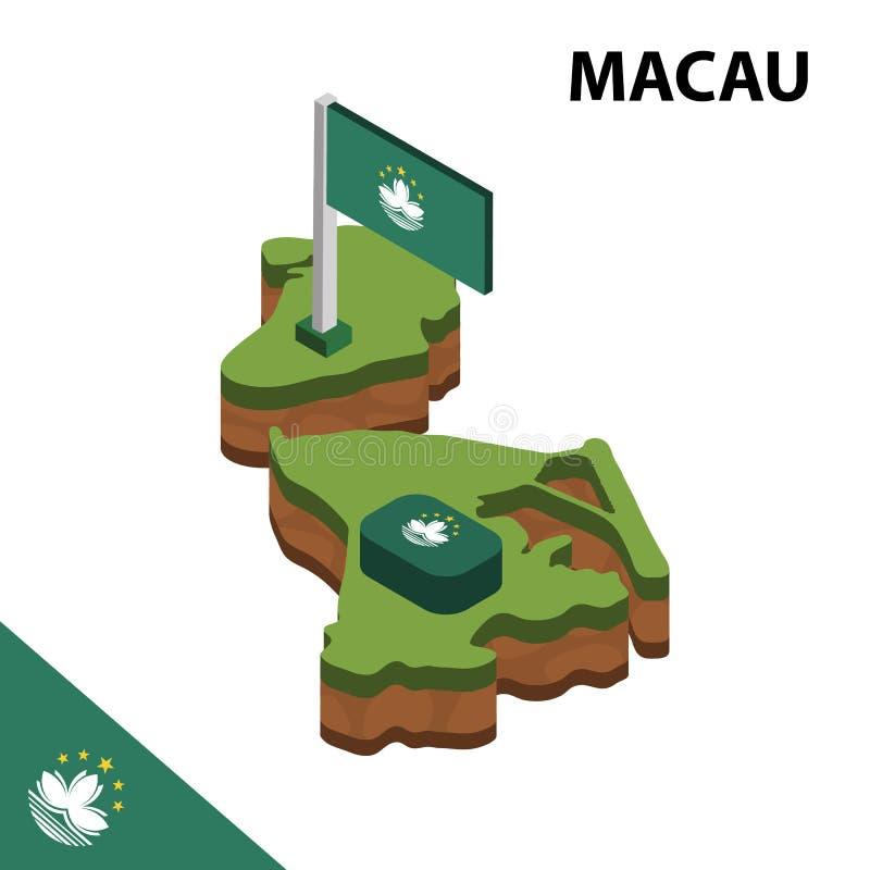 Mapa de la información y bandera isométricos gráficos de MACAO ejemplo isom?trico del vector 3d libre illustration