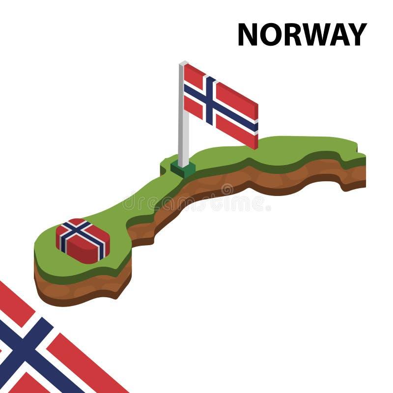 Mapa de la información y bandera isométricos gráficos de NORUEGA ejemplo isom?trico del vector 3d libre illustration