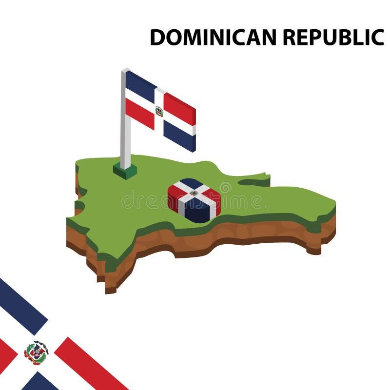 Mapa de la información y bandera isométricos gráficos de la REPÚBLICA DOMINICANA ejemplo isom?trico del vector 3d stock de ilustración