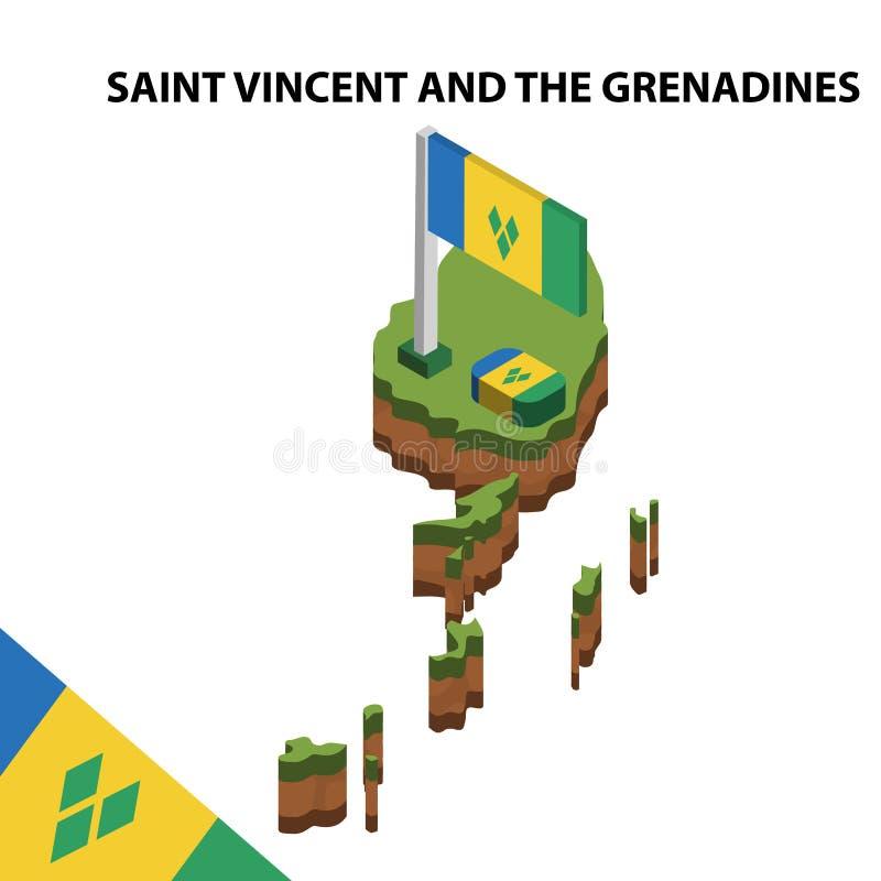Mapa de la información y bandera isométricos gráficos de SAN VICENTE Y LAS GRANADINAS ejemplo isom?trico del vector 3d ilustración del vector