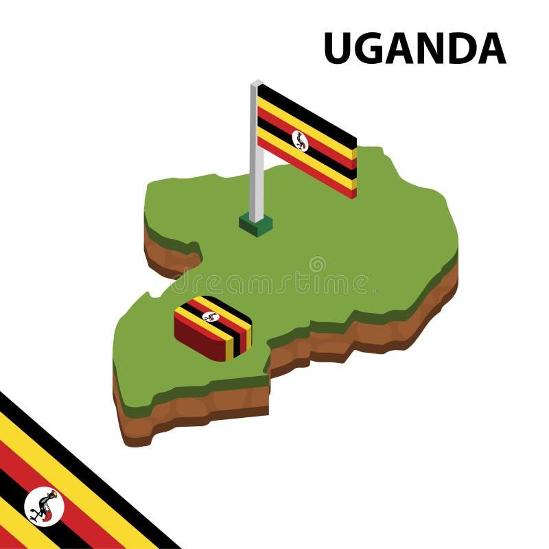 Mapa de la información y bandera isométricos gráficos de UGANDA ejemplo isom?trico del vector 3d ilustración del vector