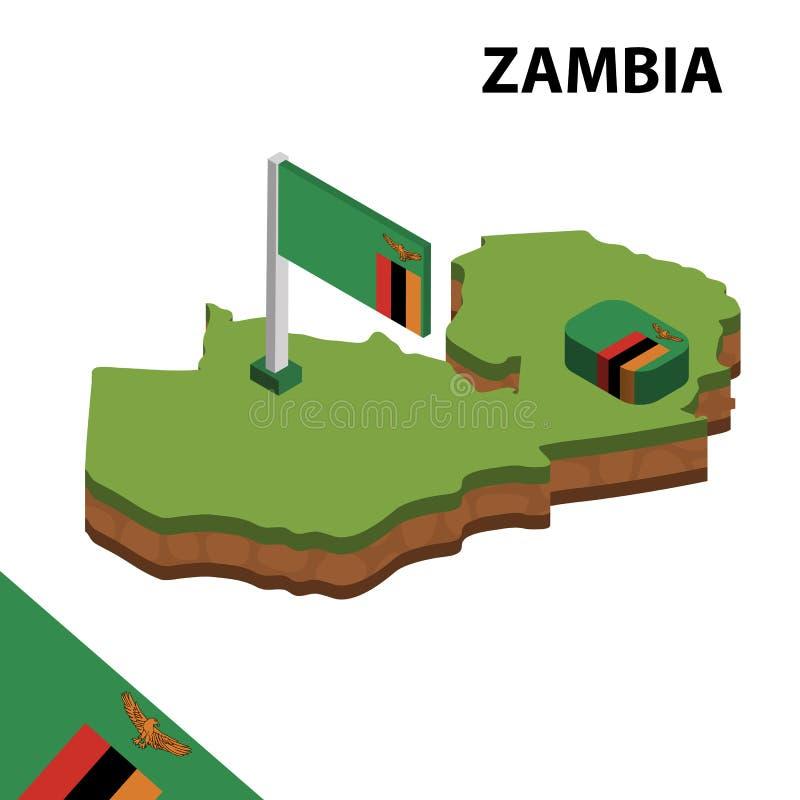 Mapa de la información y bandera isométricos gráficos de ZAMBIA ejemplo isom?trico del vector 3d ilustración del vector