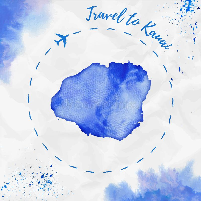 Mapa de la isla de la acuarela de Kauai en colores azules stock de ilustración