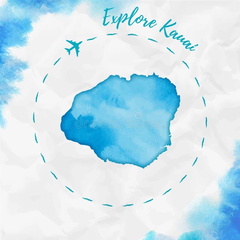 Mapa de la isla de la acuarela de Kauai en colores de la turquesa libre illustration