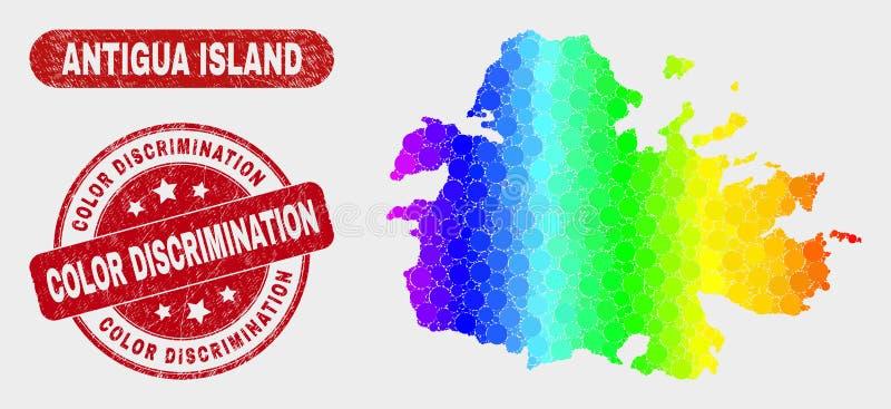 Mapa de la isla de Antigua del mosaico del espectro y filigrana de la discriminación de color de la desolación stock de ilustración