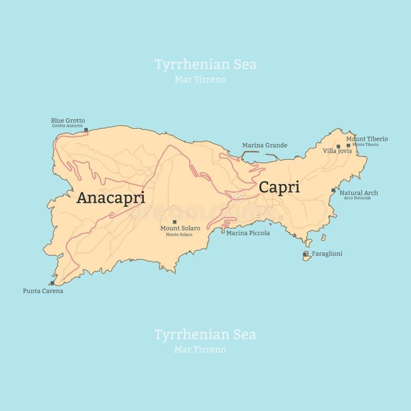 Mapa de la isla de Capri, Italia, Campania ilustración del vector