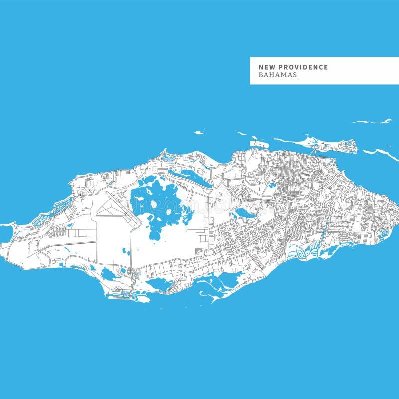 Mapa de la isla del New Providence ilustración del vector