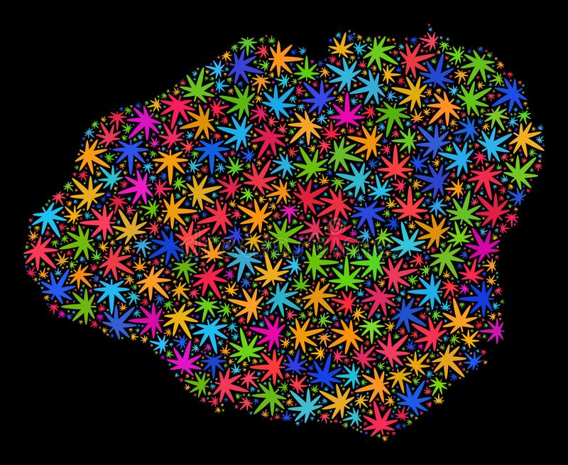Mapa de la isla de Kauai del mosaico de las hojas coloridas de la marijuana ilustración del vector