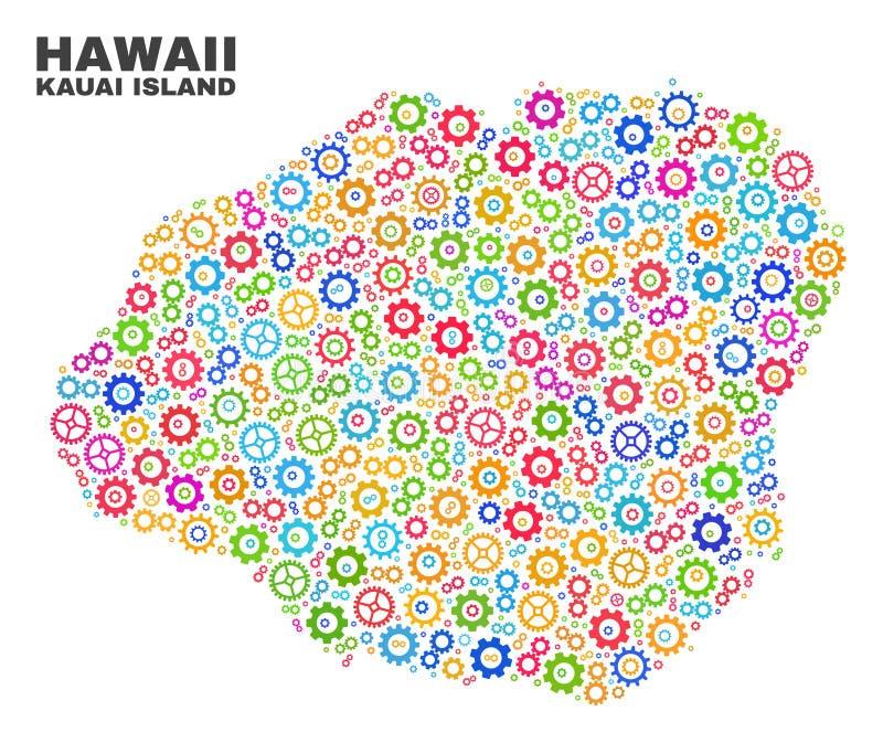 Mapa de la isla de Kauai del mosaico de los artículos de la rueda dentada libre illustration