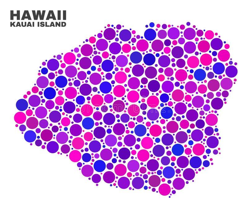 Mapa de la isla de Kauai del mosaico de los puntos del círculo stock de ilustración