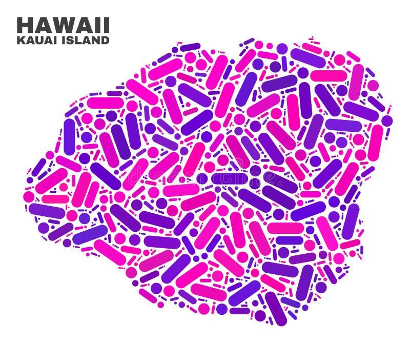Mapa de la isla de Kauai del mosaico de puntos y de líneas ilustración del vector