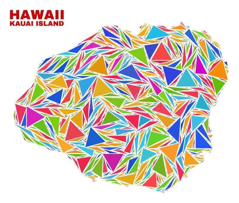 Mapa de la isla de Kauai - mosaico de los triángulos del color stock de ilustración