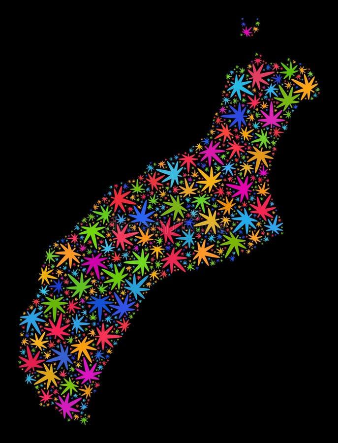 Mapa de la isla de Niihau del mosaico de las hojas coloreadas del cáñamo libre illustration
