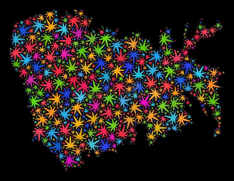 Mapa de la isla de Nuku Hiva del mosaico de las hojas brillantes del cáñamo libre illustration
