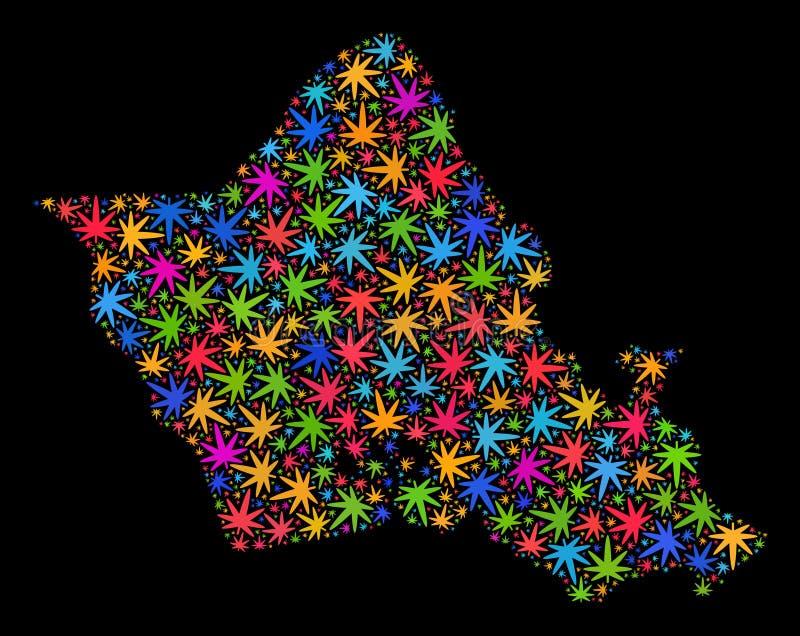 Mapa de la isla de Oahu del mosaico de las hojas multicoloras del cáñamo libre illustration