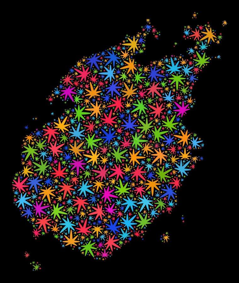 Mapa de la isla de Paros del mosaico de las hojas coloridas del cáñamo libre illustration