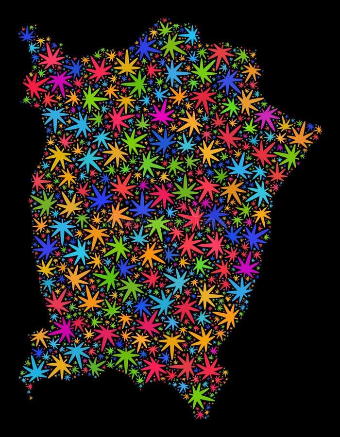 Mapa de la isla de Penang del mosaico de las hojas brillantes de la marijuana libre illustration