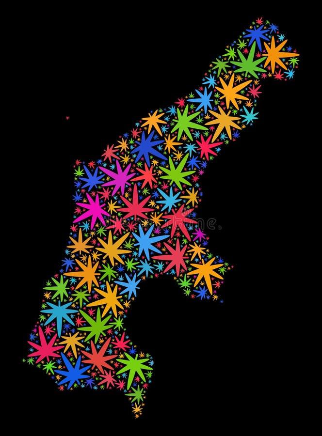 Mapa de la isla de Saipán del mosaico de las hojas coloreadas de la marijuana stock de ilustración