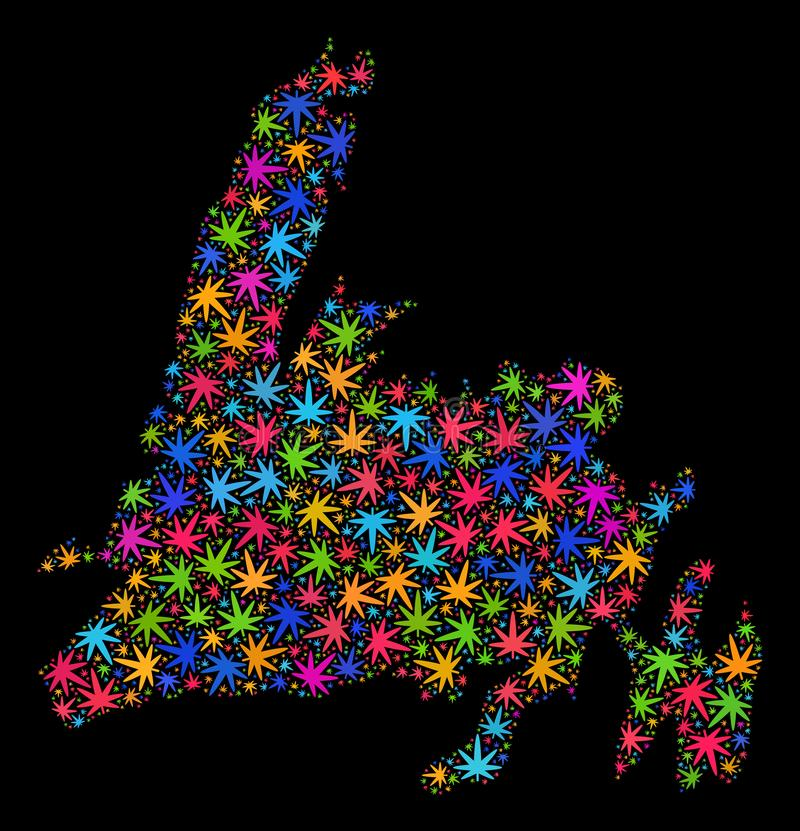 Mapa de la isla de Terranova del mosaico de las hojas brillantes de la marijuana libre illustration