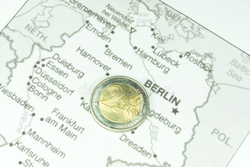 Mapa de la moneda de Alemania y del euro imágenes de archivo libres de regalías