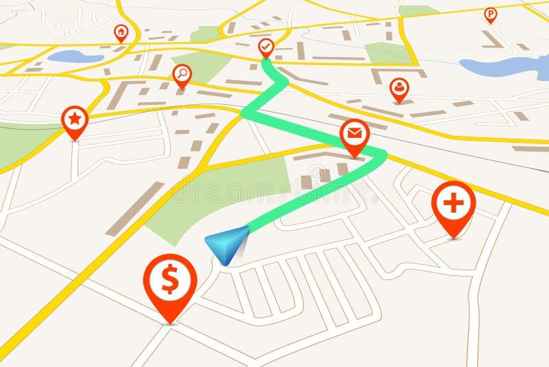 Mapa de la navegación stock de ilustración