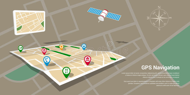 Mapa de la navegación de los Gps libre illustration