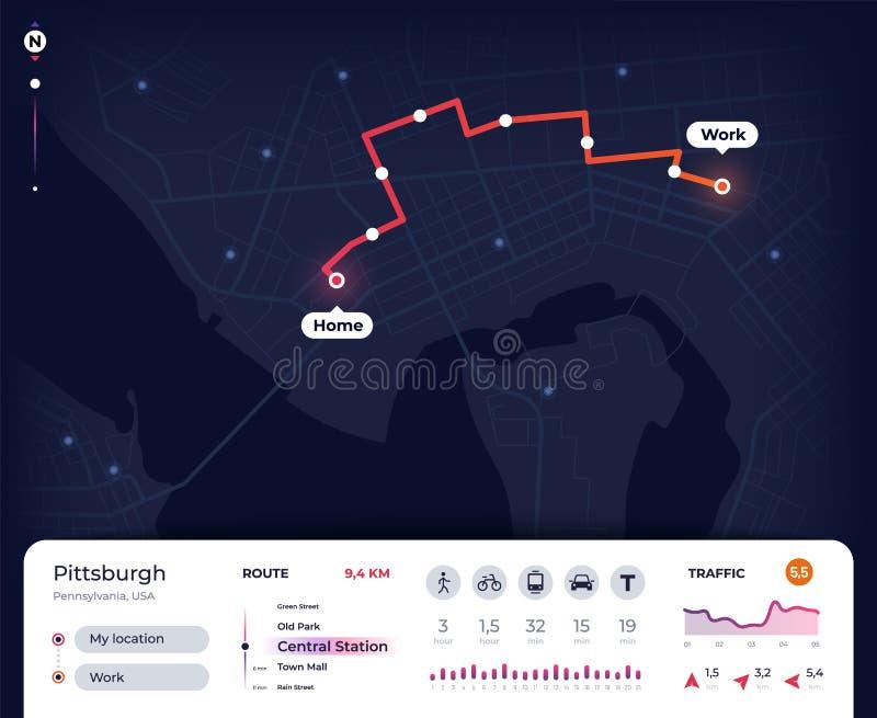 Mapa de la navegación Ui del navegador de la ciudad de los Gps con el trazado de la ruta, siguiendo plan de la calle Diseño del v stock de ilustración