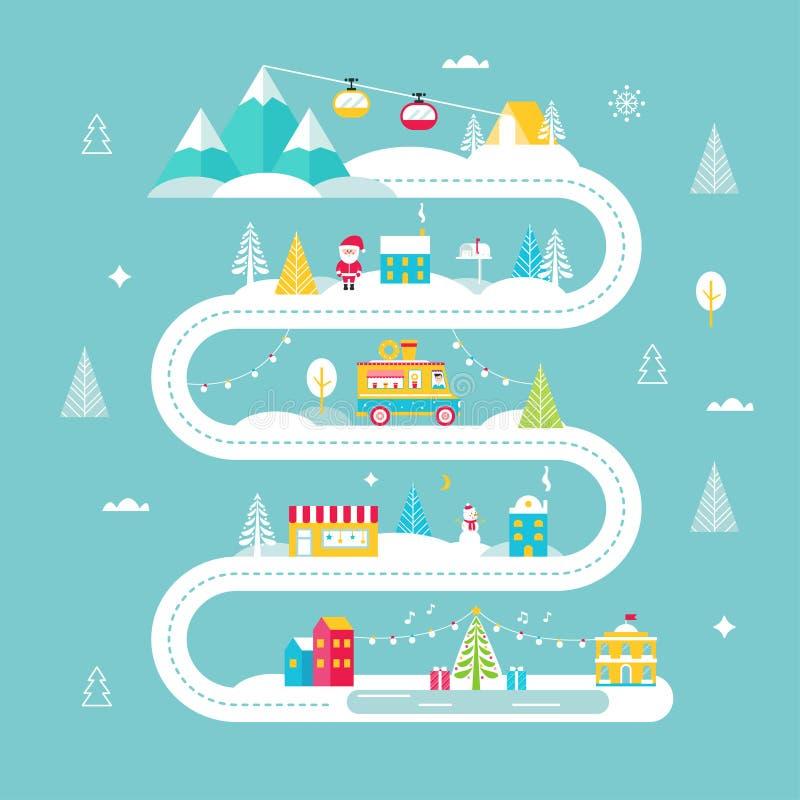 Mapa de la Navidad y de camino de las vacaciones de invierno Luces, ciudad, mercado, teleféricos de la montaña y Papá Noel Ilustr stock de ilustración