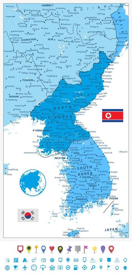 Mapa de la península de Corea en colores del icono azul y plano de la navegación ilustración del vector