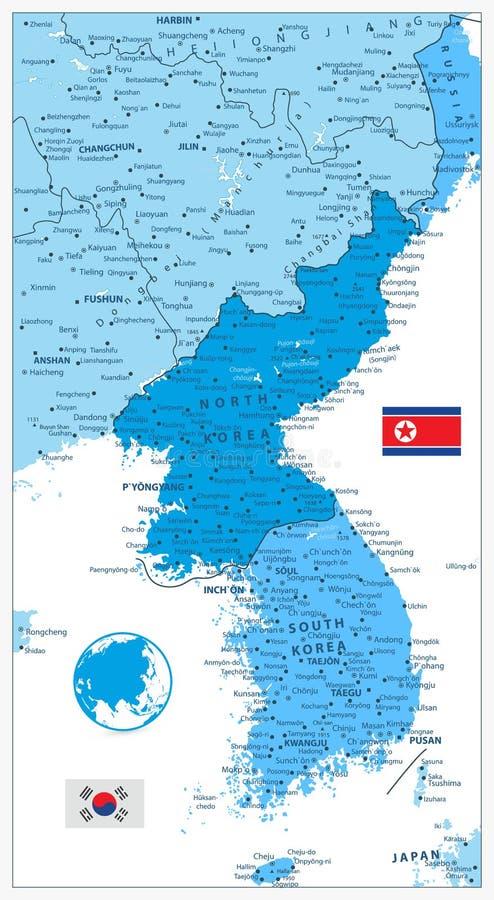 Mapa de la península de Corea en los colores del azul en blanco, del norte libre illustration