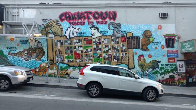 Mapa de la pintada de Chinatown foto de archivo libre de regalías