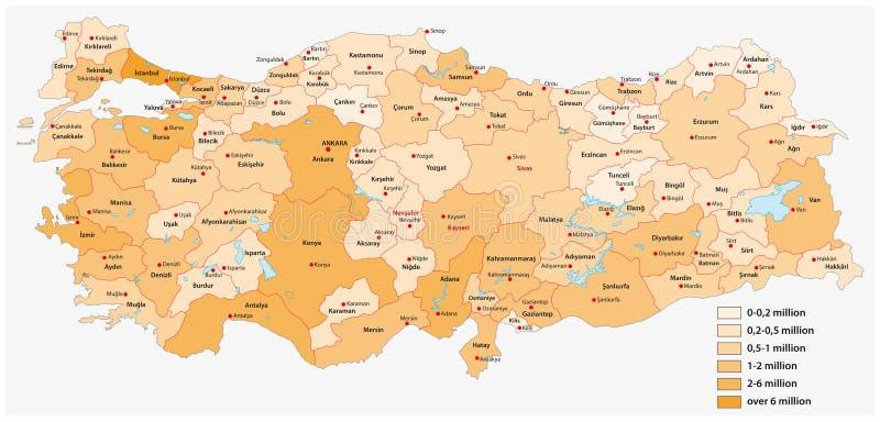 Mapa de la población del vector de las provincias turcas libre illustration