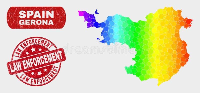 Mapa de la provincia de Gerona del mosaico del espectro y sello de la aplicación de ley del Grunge libre illustration