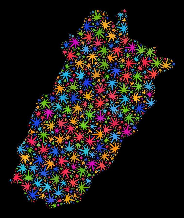 Mapa de la provincia de Punjab del mosaico de las hojas brillantes de la marijuana libre illustration