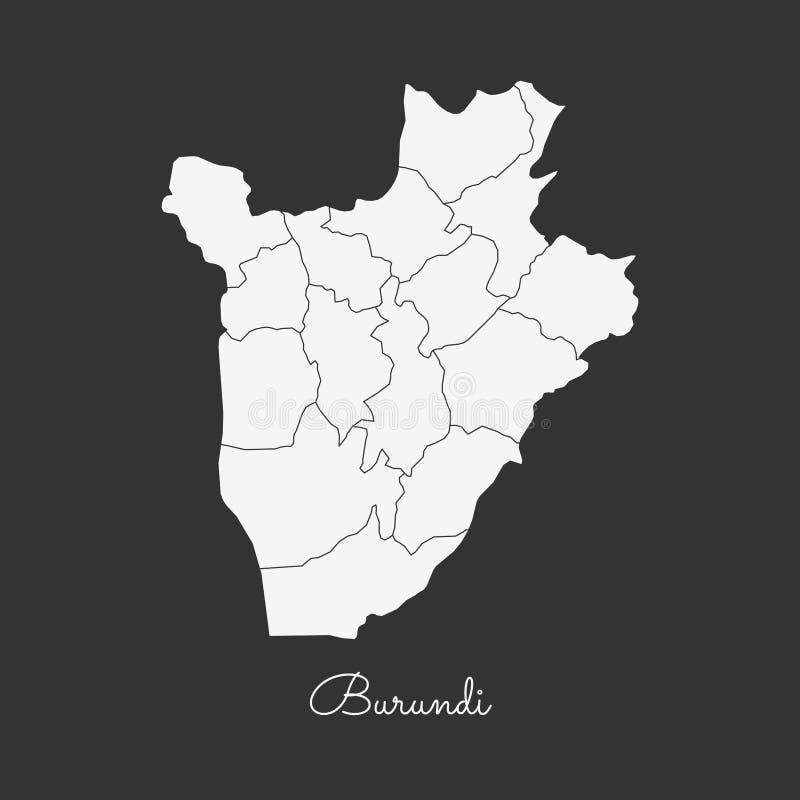 Mapa de la región de Burundi: esquema blanco en gris ilustración del vector