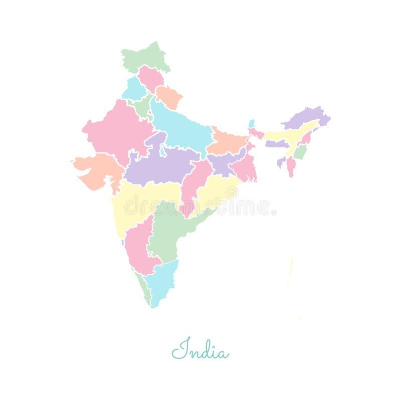 Mapa de la región de la India: colorido con el esquema blanco stock de ilustración