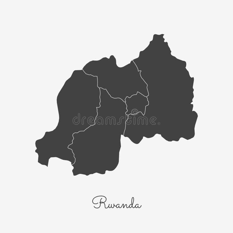 Mapa de la región de Rwanda: esquema gris en blanco libre illustration