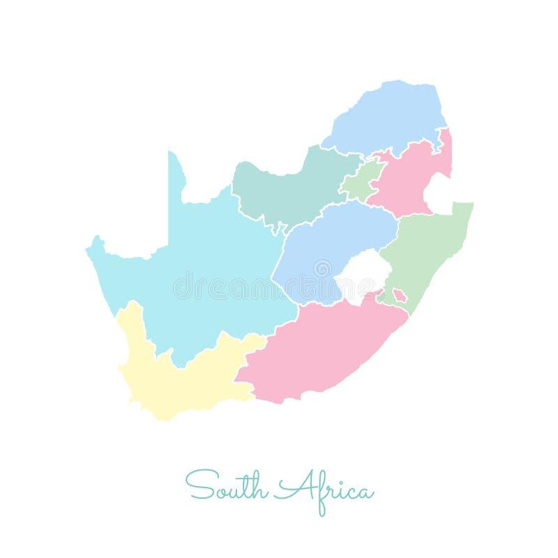 Mapa de la región de Suráfrica: colorido con blanco ilustración del vector