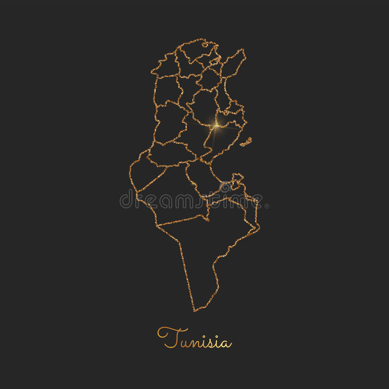 Mapa de la región de Túnez: esquema de oro del brillo con libre illustration