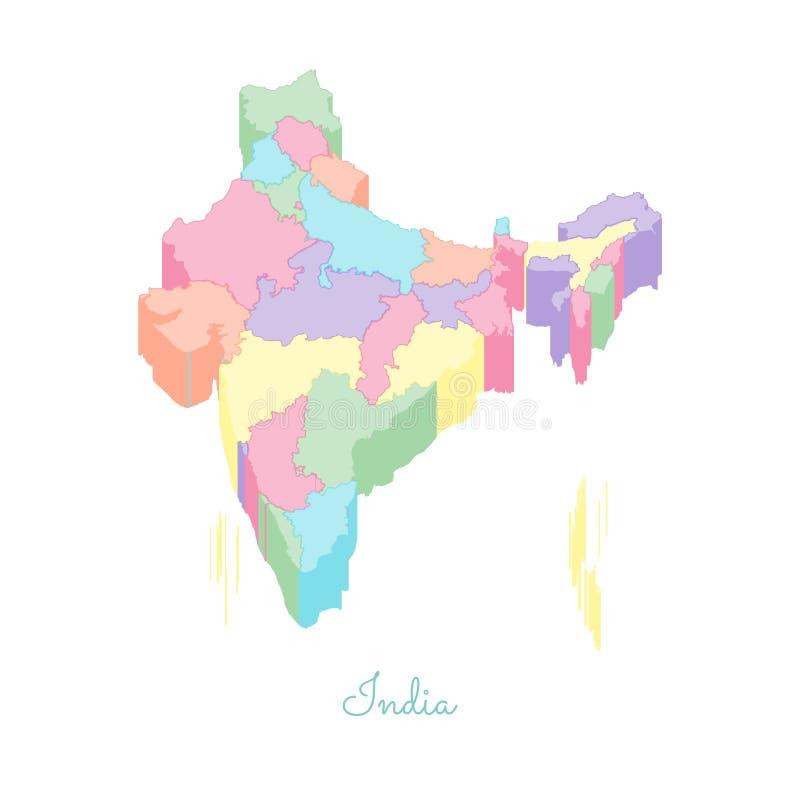 Mapa de la región de la India: visión superior isométrica colorida libre illustration
