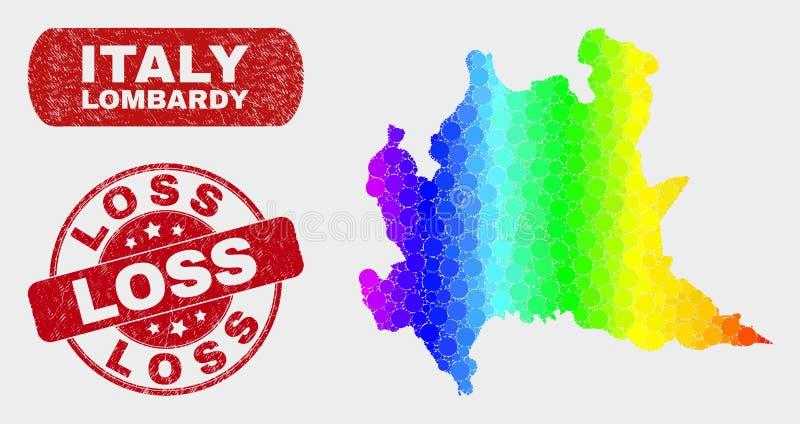 Mapa de la región de Lombardía del mosaico del espectro y sello rasguñado de la pérdida libre illustration