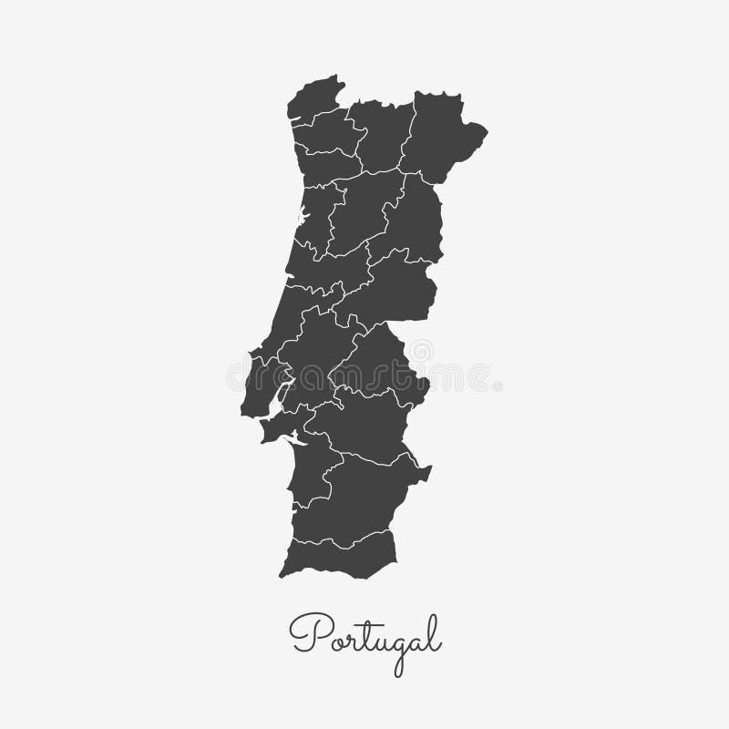 Mapa de la región de Portugal: esquema gris en blanco stock de ilustración
