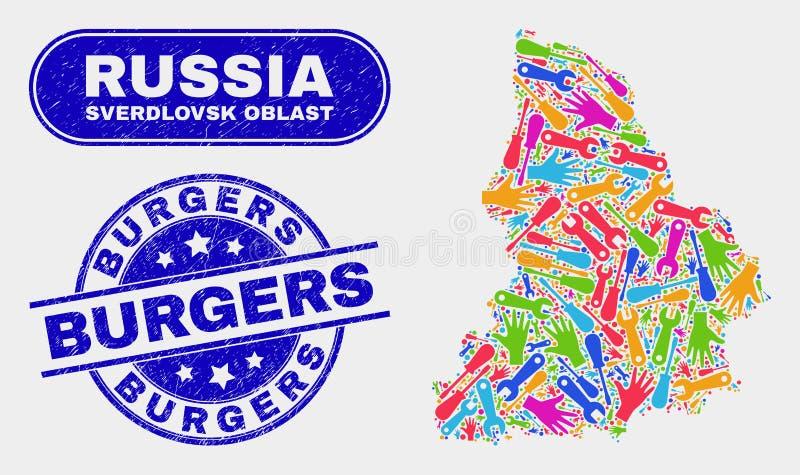Mapa de la región de Sverdlovsk de la construcción y filigranas rasguñadas de las hamburguesas libre illustration