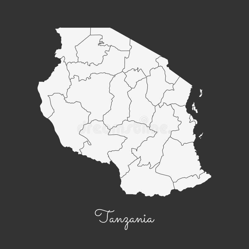 Mapa de la región de Tanzania: esquema blanco en gris stock de ilustración